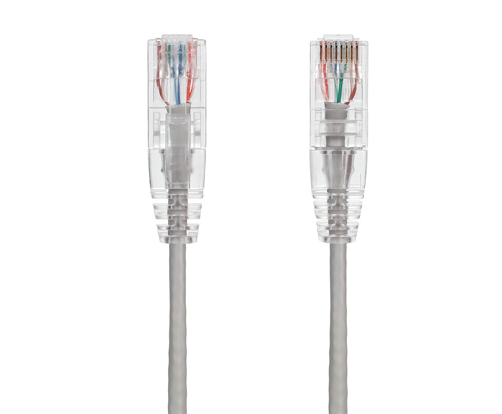 2ft Ultra Slim Cat6 28 AWG UTP Snagless Ethernet Network Patch Cable, Gray