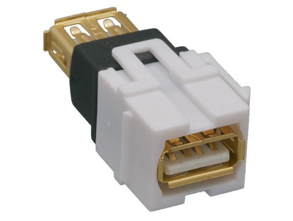 USB 2.0 A Female to A Female Keystone Jack, Flush Type