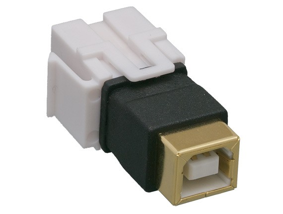 USB 2.0 B Female to B Female Keystone Jack, Flush Type